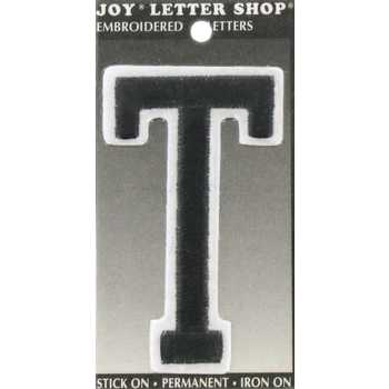 "Black T 3"" Embroidered Iron-On Letter"
